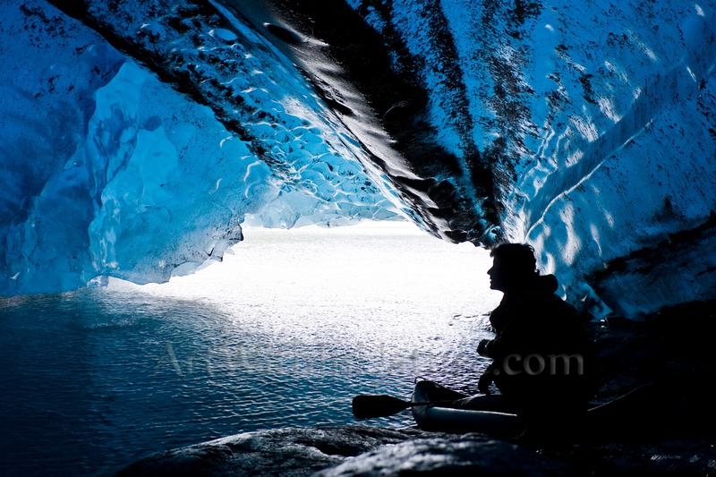 Paddling under a glacier